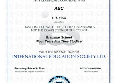 IES London certifikát